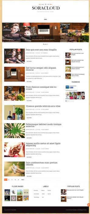 Sora Cloud Responsive Blogger Template (Custom)