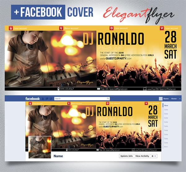 Special Guest DJ Ronaldo – Club and Party Free Flyer PSD Template + Facebook Cover (Custom)