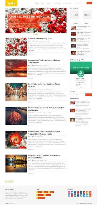 Spike Bright & Colorful WordPress Blog Theme (Custom)