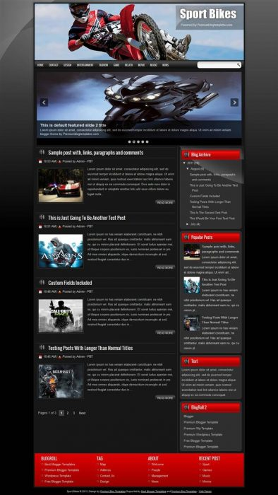 Sport Bikes Blogger Template (Custom)