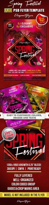 Spring Festival – Club and Party Free Flyer PSD Template (Custom)