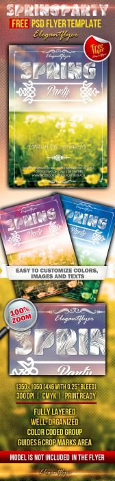 Spring party – Club and Party Free Flyer PSD Template (Custom)