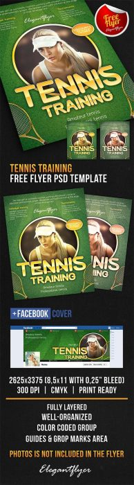 Tennis training – Free Flyer PSD Template + Facebook Cover (Custom)