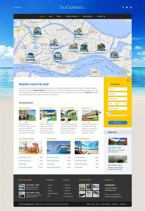 Tour Operator WP theme with Reservation System (Custom)
