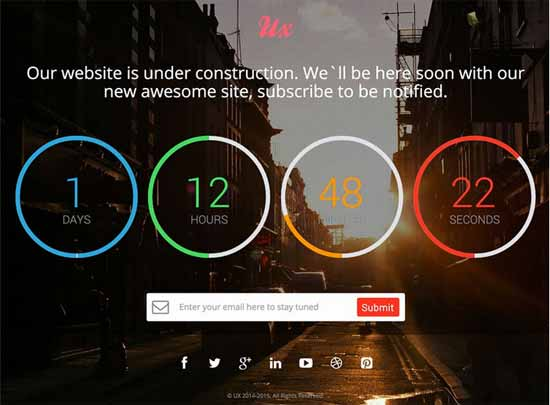 UX Free Responsive Coming Soon Countdown Template V2