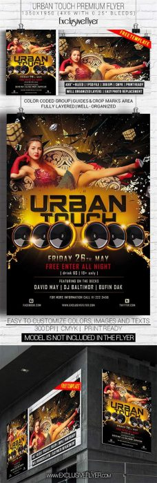 urban touch free club and party flyer psd template custom