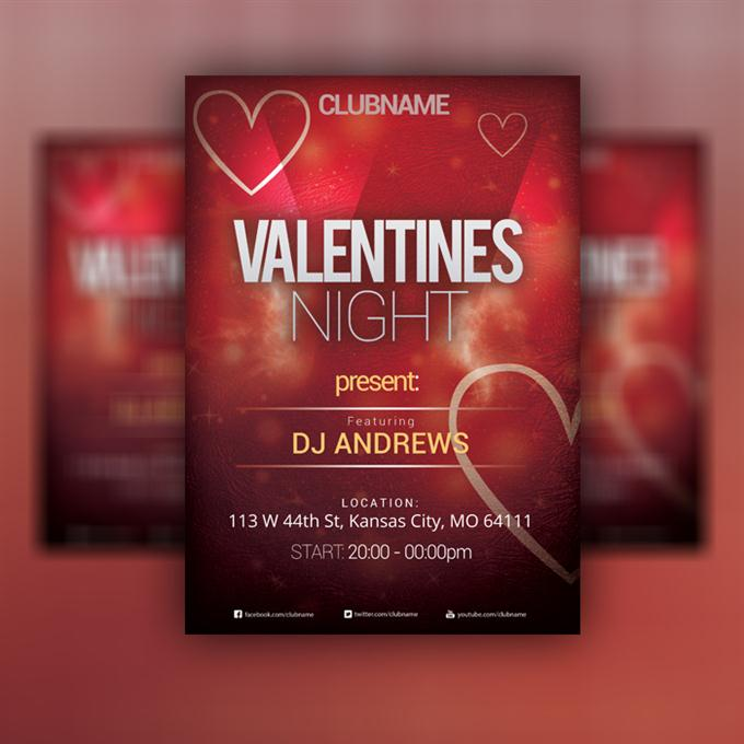 Valentine's Day – Flyer PSD Template (Free PSD) (Custom)