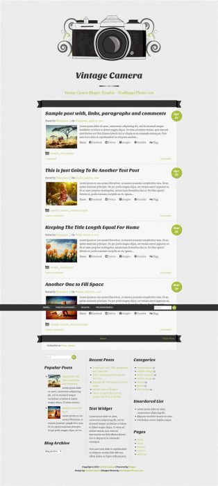 Vintage Camera Responsive Blogger Template (Custom)
