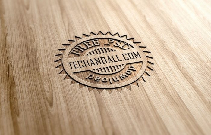 Wood Engraved Effect MockUp