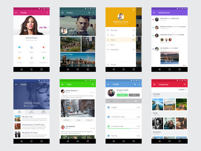 Best Free Android UI kit PSD - TechClient