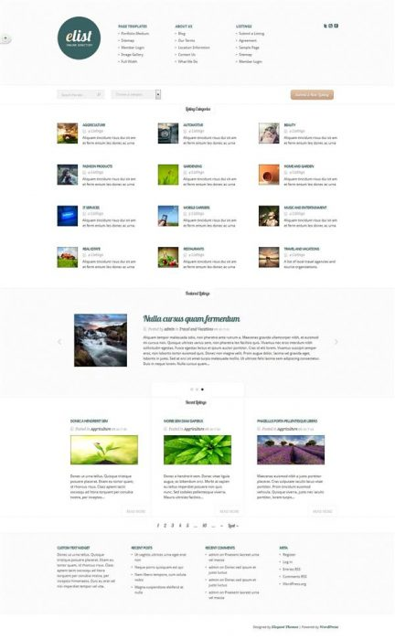 eList Directory WordPress Theme   (Custom)