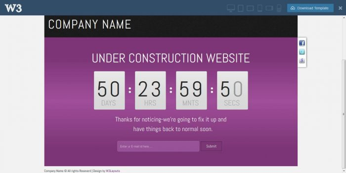 franze under construction web and mobile template for free