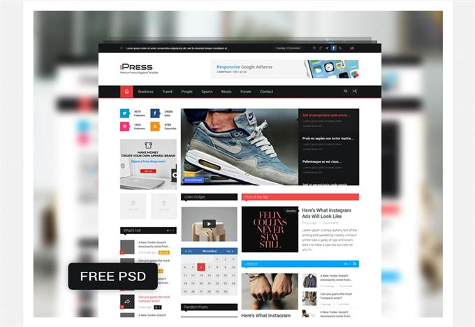 iPress Free PSD Magazine & Blog Template (Custom)