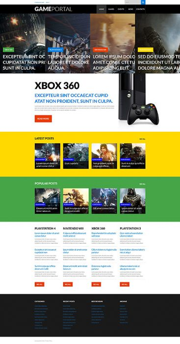 video Games WordPress Template